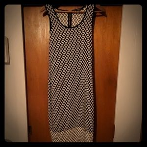 Espresso White and Black Pattern Dress